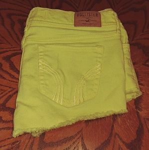 Yellow Distressed Denim Shorts